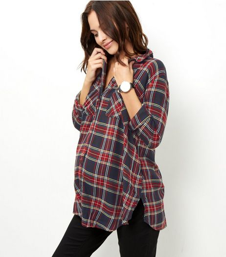 Maternity Black Tartan Shirt | New Look