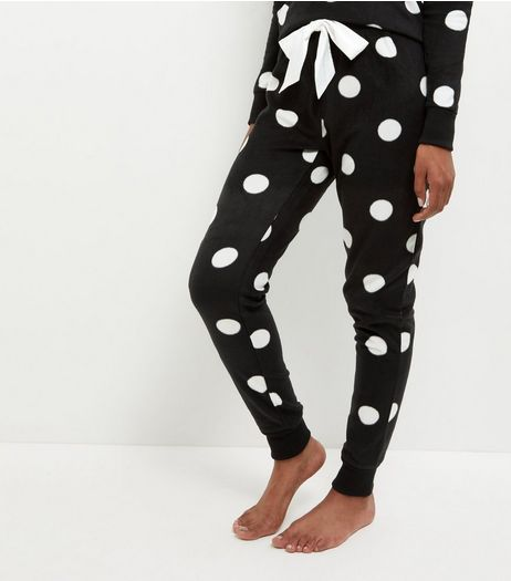 Tall Black Spot Print Pyjama Bottoms | New Look