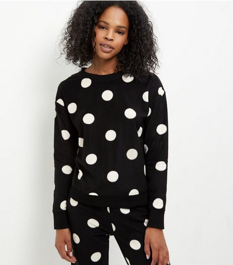 Tall Black Spot Print Pyjama Sweater and Bottoms | New Look