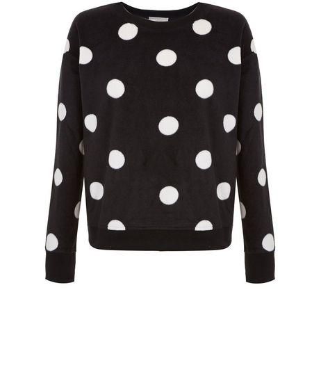 Curves Black Spot Print Pyjama Sweater | New Look