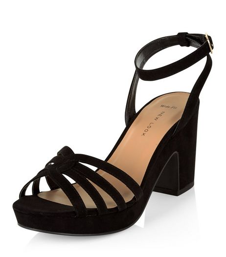 Wide Fit Black Suedette Platform Block Heels  | New Look