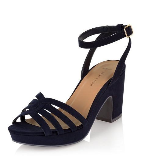 Wide Fit Navy Suedette Platform Block Heels  | New Look