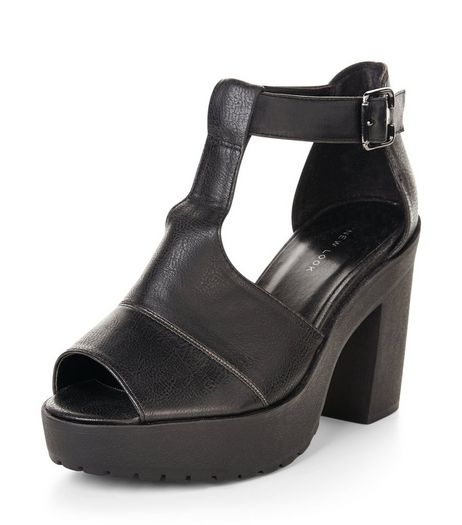 Black Cut Out Chunky Block Heels | New Look