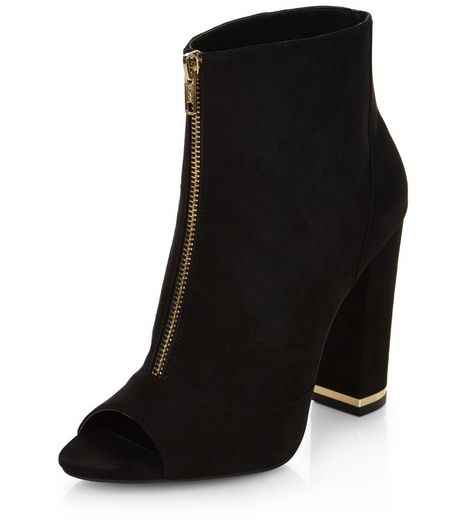 Black Suedette Zip Front Peep Toe Block Heels | New Look