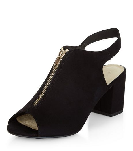 Black Comfort Zip Front Peep Toe Block Heels  | New Look
