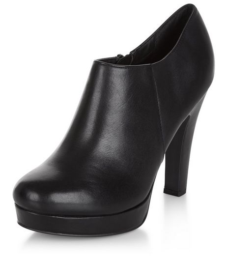 Black Comfort Leather Shoe Boots  | New Look