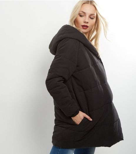 Maternity Black Hooded Padded Jacket | New Look