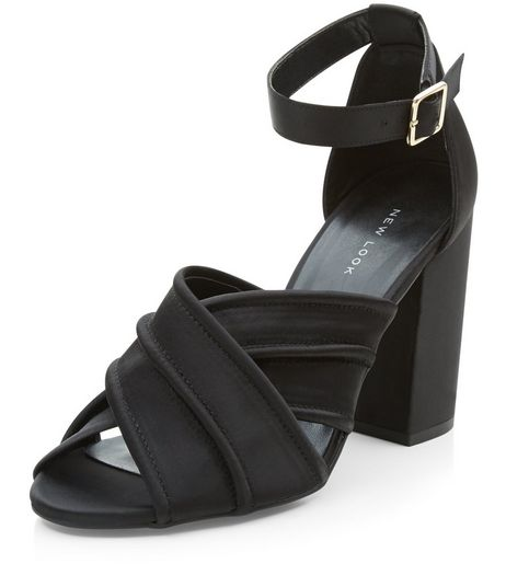 Black Cross Strap Block Heel Sandals  | New Look