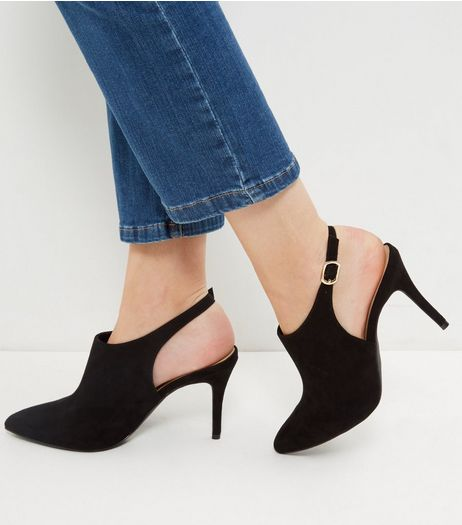 Black Comfort Suedette Pointed Sling Back Heels | New Look