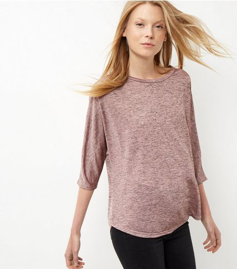 Mid Pink Marl Oversized 3/4 Sleeve Top | New Look