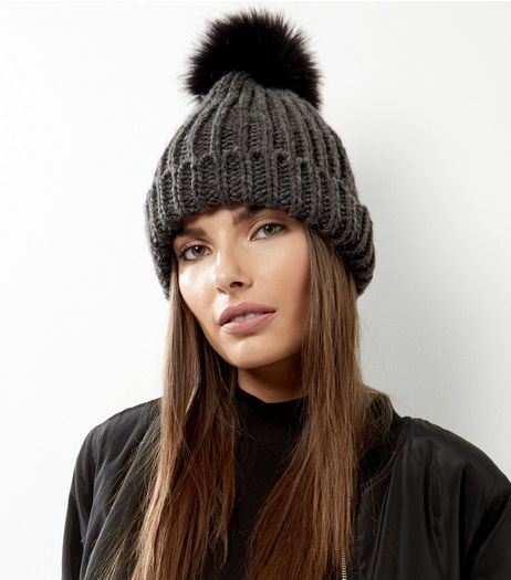 Dark Grey Faux Fur Pom Pom Beanie Hat | New Look
