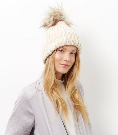 Cream Faux Fur Pom Pom Hat | New Look