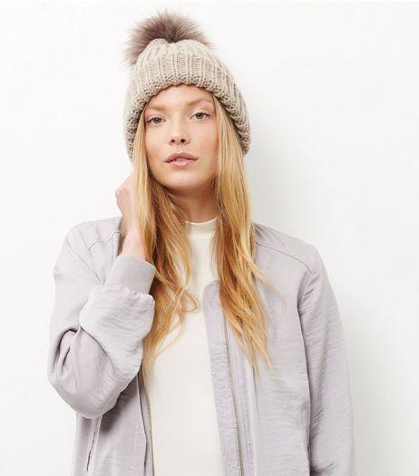 Mink Faux Fur Pom Pom Beanie Hat  | New Look