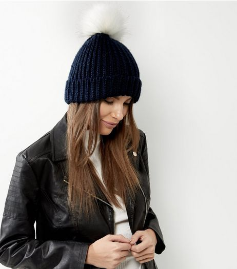 Navy Faux Fur Pom Pom Hat | New Look