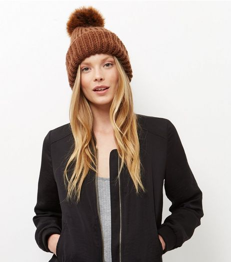 Orange Faux Fur Pom Pom Hat | New Look