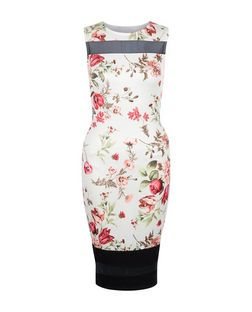 Cameo Rose White Floral Print Mesh Panel Midi Dress | New Look