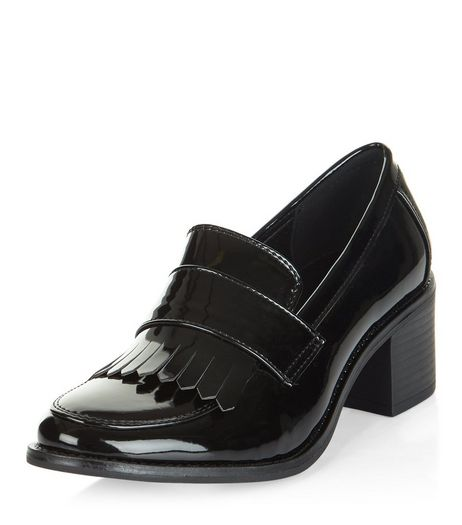 Teens Black Patent Block Heel Loafers | New Look