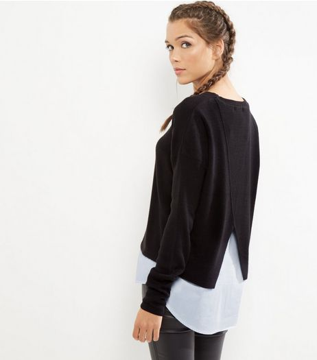Black 2 in 1 Crew Neck Jumper  | New Look
