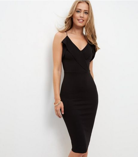 Cameo Rose Black Ruffle Midi Dress | New Look