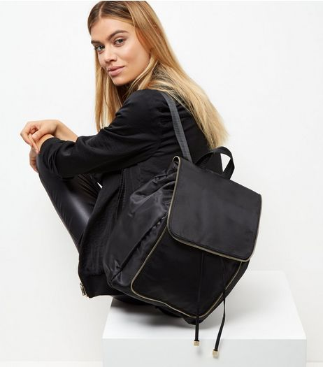 Black Nylon Zip Trim Backpack | New Look