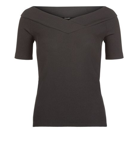 Black Wrap Bardot Neck Top | New Look