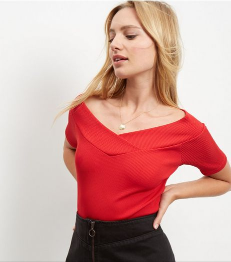 Dark Red Wrap Bardot Neck Top | New Look