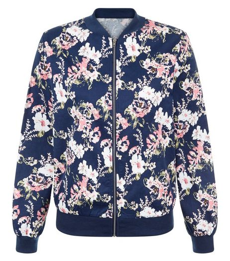 Cameo Rose Blue Floral Print Bomber Jacket | New Look