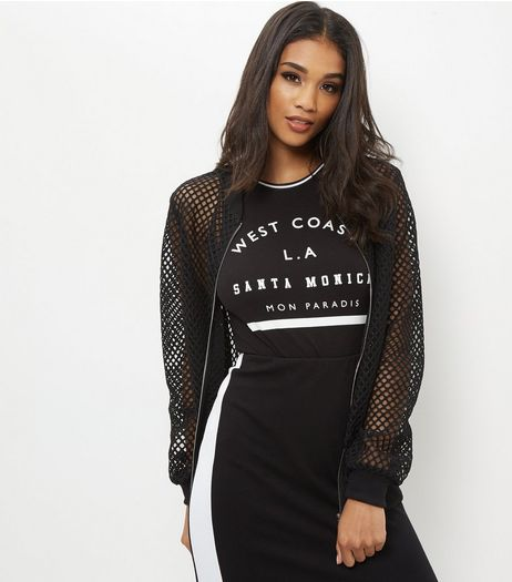 Black Mesh Bomber Jacket | New Look