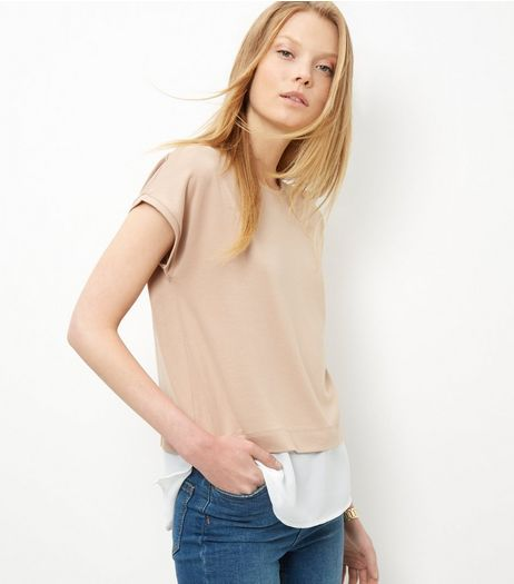 Camel Layered T-Shirt  | New Look