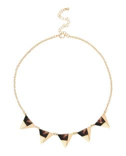 Gold Contrast Panel Triangle Necklace | New Look