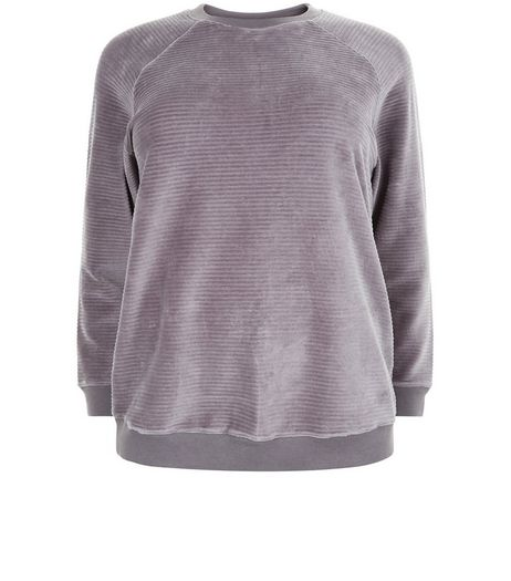Curves Dark Grey Ribbed Velour Sweater | New Look