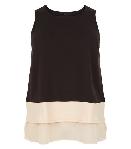 Curves Black Step Hem Sleeveless Top | New Look