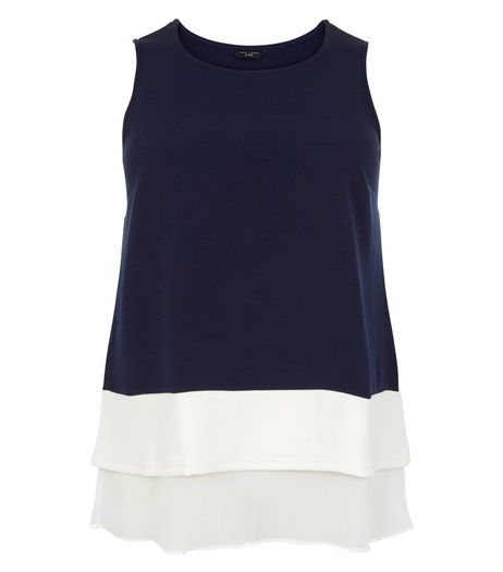 Curves Navy Step Hem Sleeveless Top | New Look