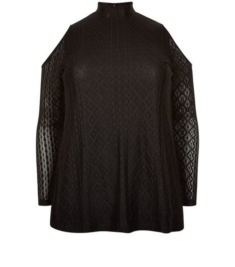 Curves Black Lace Cold Shoulder Funnel Neck Top | New Look