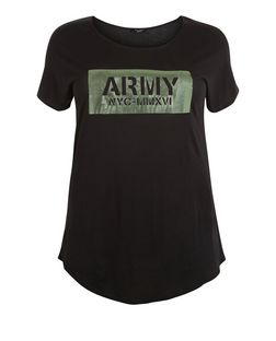 Curves Black Army Print Foil T-Shirt | New Look