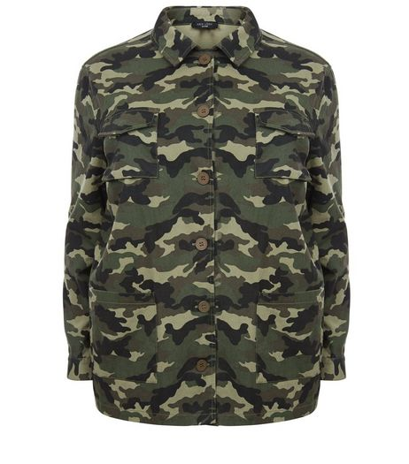 Curves Green Camo Print Shacket  | New Look