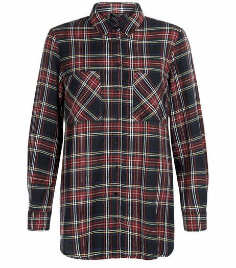 Petite Black Tartan Check Long Sleeve Shirt | New Look