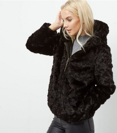 Petite Black Faux Fur Hooded Bomber Jacket  | New Look