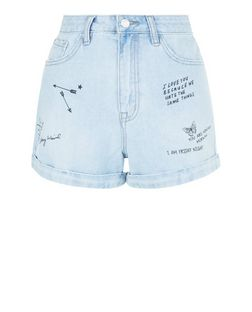 Pale Blue Denim Graffiti Print Turn Up Mom Shorts  | New Look