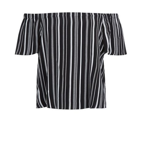 Petite Black Stripe Bardot Top | New Look