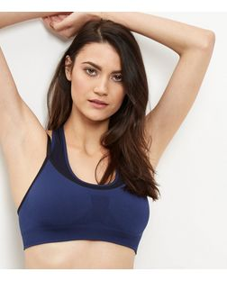Blue Layered Sports Crop Top | New Look