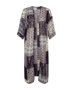 Blue Vanilla Black Patchwork Print Longline Kimono | New Look