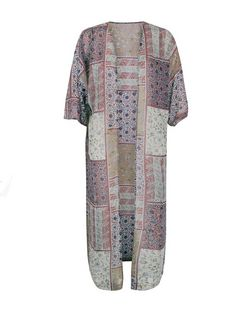 Blue Vanilla Cream Patchwork Print Longline Kimono | New Look
