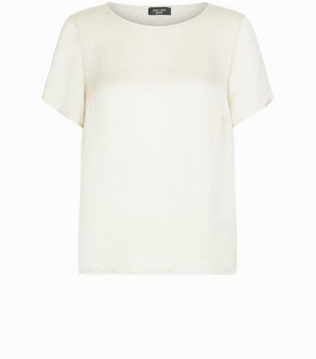 Petite Gold Satin Boxy T-Shirt | New Look