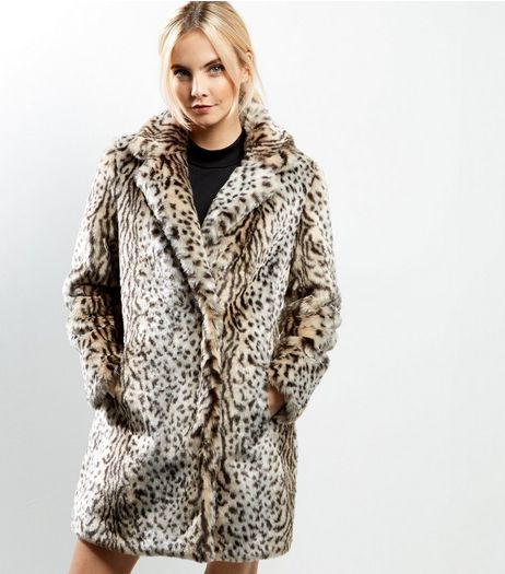 Petite Brown Animal Print Faux Fur Coat | New Look