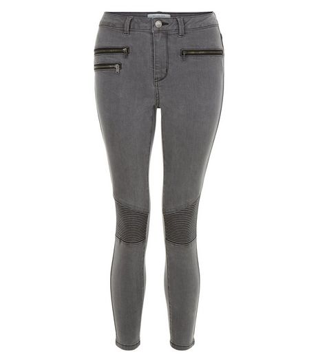 Petite Grey Super Skinny Biker Jeans | New Look