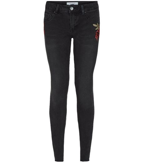 Petite Black Rose Print Skinny Jeans | New Look