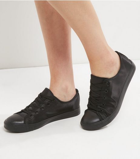 Black Sateen Lace Up Trainers | New Look