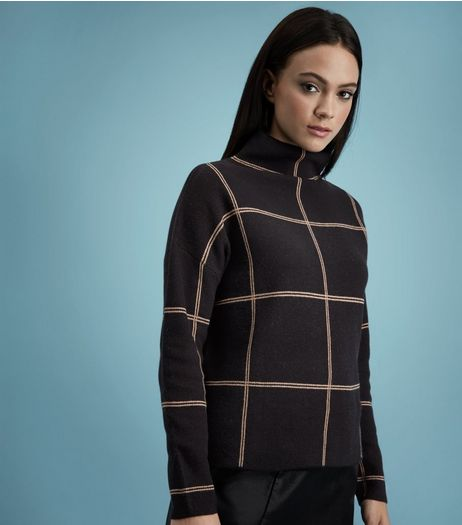 Black Check Turtle Neck Jumper  | New Look