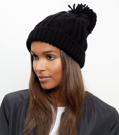 Black Cable Knit Bobble Beanie Hat | New Look